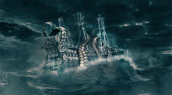 Кракен тянет корабль в морскую пучину