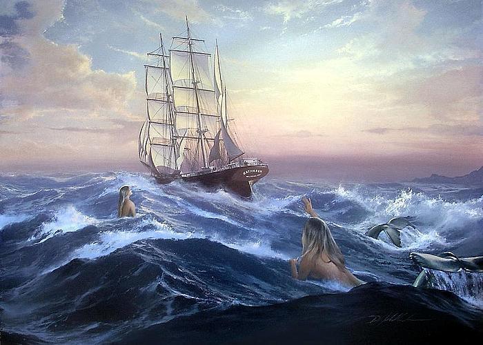 Русалки наблюдают за кораблекрушением