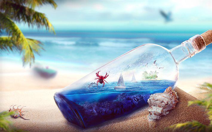 Поделки и сувениры в морсом стиле: море в бутылке
