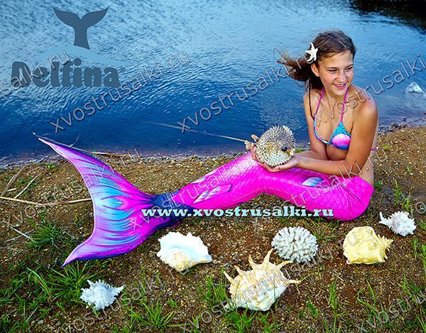 Хвост русалки с чешуей 3д и плавниками розовый Кариба