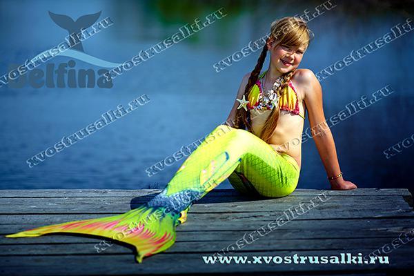 Хвост русалки салатовый с плавниками Тропикана
