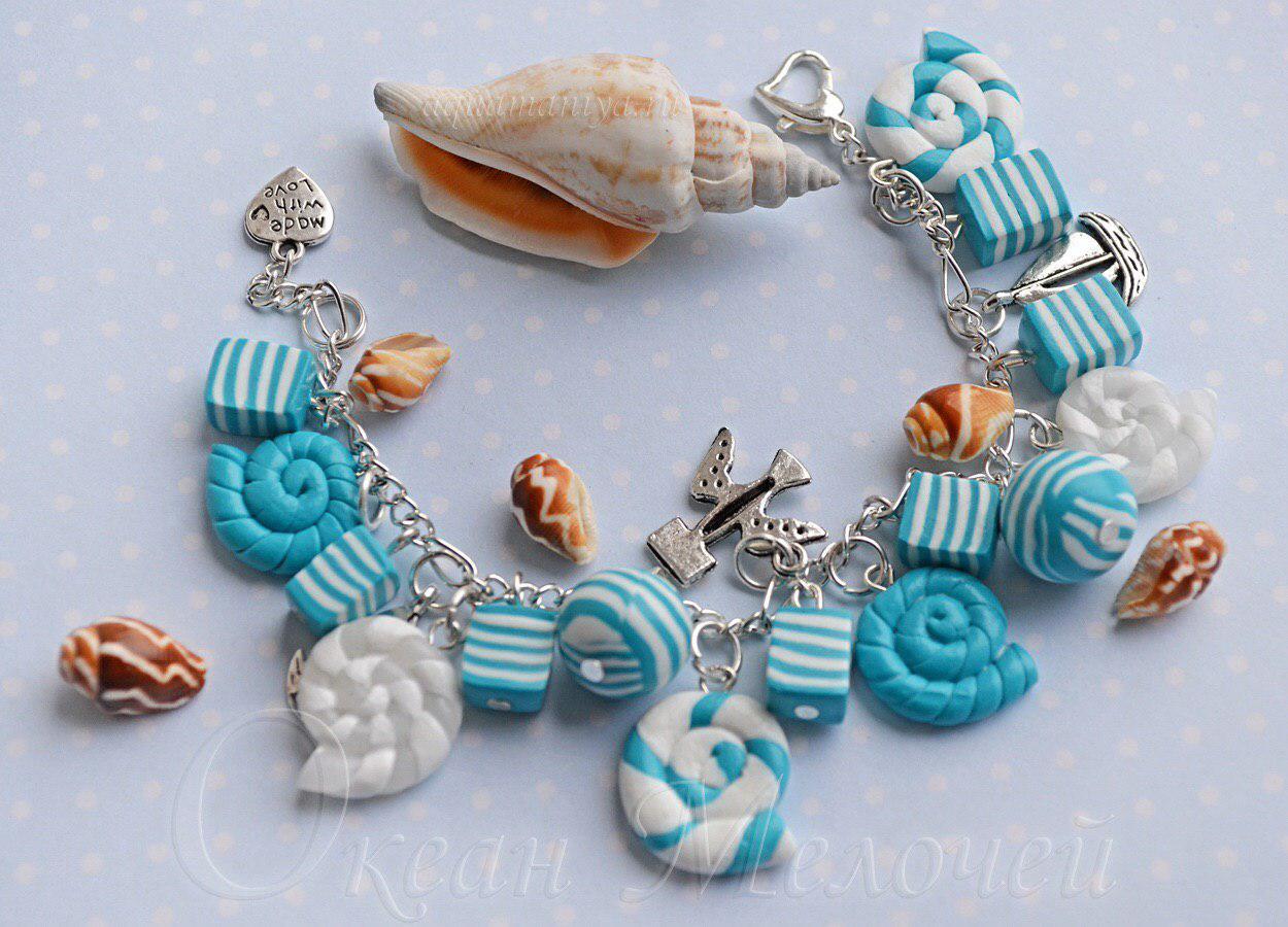 голубой браслет с ракушками в морском стиле
