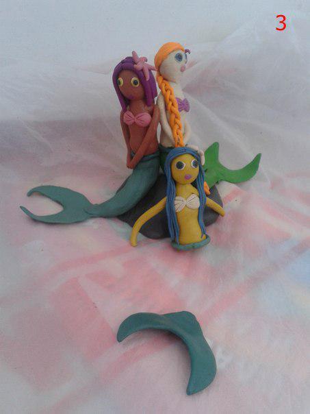 Три русалки - очень оригинальная поделка из пластилина