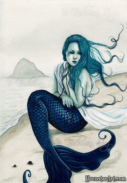Готическая русалка с синим хвостом