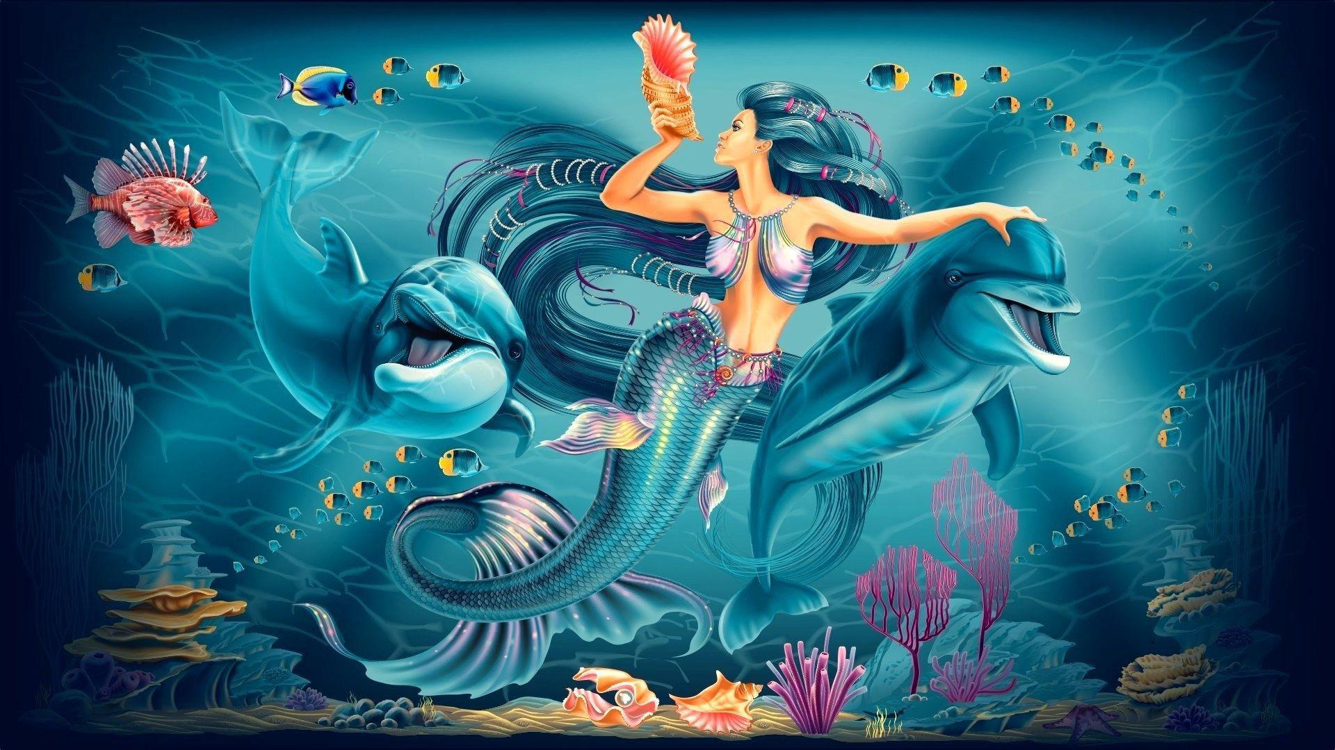 Интересный подводный мир русалки
