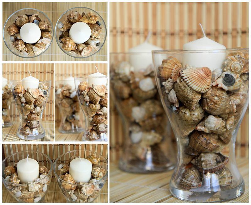Варианты декора вазы с ракушками