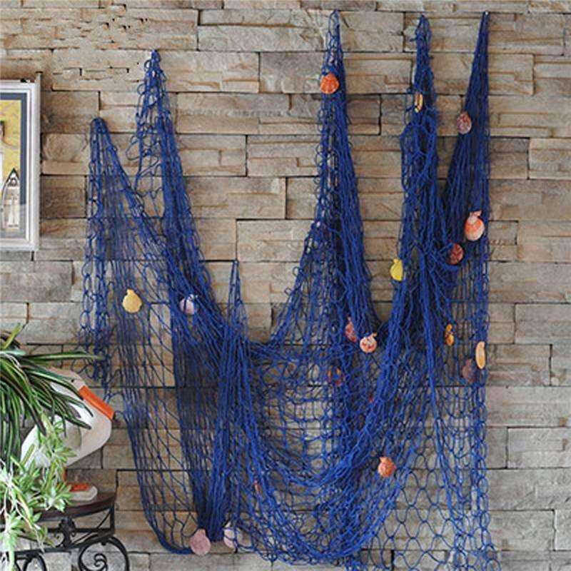 Сетка рыбака как шикарный и недорогой элемент морского декора.