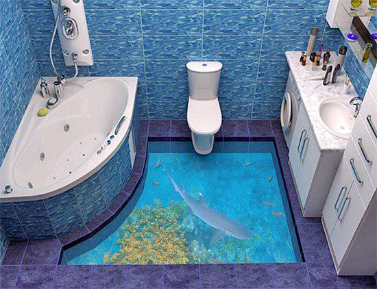 Водный пол в ванной как элемент морского декора.