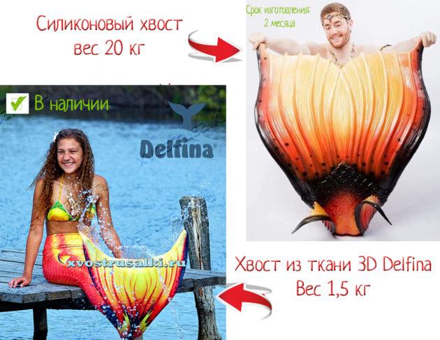Сравнение силиконового хвоста русалки и хвоста русалки из ткани Дельфина в оранжевом цвете